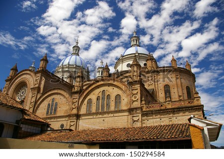 Cathedral Of The Immaculate Conception In Cuenca, Ecuador - stock photo