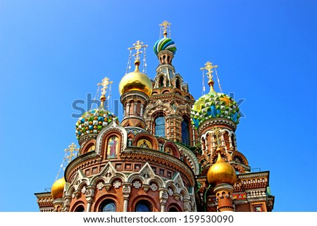 Cathedral of the Resurrection on Spilled Blood (Church of Our Savior on the Spilled Blood) in St. Petersburg  - stock photo