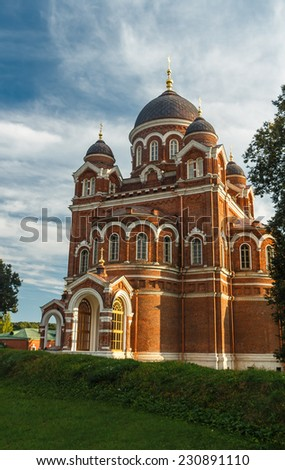 Cathedral of the Vladimir icon of the Mother of God. Spaso-Borodinsky monastery, Borodino, Mozhaysk district, Moscow region - stock photo