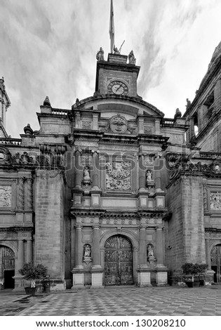 Cathedral on Zocalo in the Mexico City (black and white) - stock photo