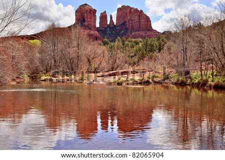 Cathedral Red Rock Canyon Oak Creek Green Trees Sedona Arizona - stock photo