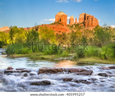 Cathedral Rock formation and Oak Creek in Sedona Arizona