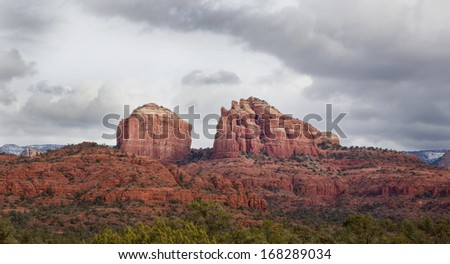 Cathedral Rock in Coconino National Forest at Sedona Arizona on a stormy day. - stock photo