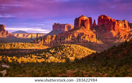 Cathedral Rock in Sedona, Arizona in the evening light - stock photo