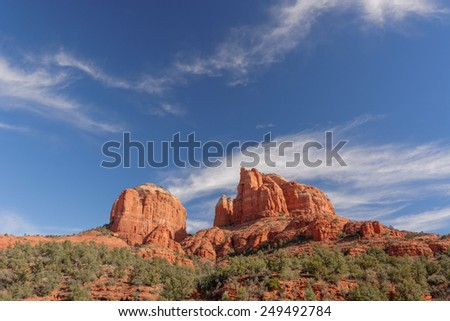 Cathedral Rock in the Coconino National Forest near Sedona, AZ, USA - stock photo