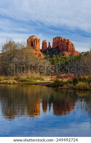 Cathedral Rock with reflection in the water near Sedona, AZ, USA - stock photo