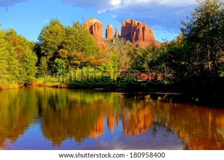 Cathedral Rock with reflections near sunset, Sedona, Arizona, USA - stock photo