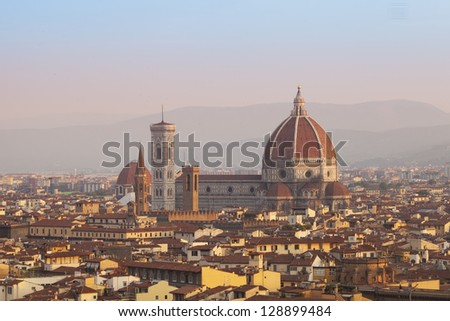 Cathedral Santa Maria del Fiore in Florence at sunrise, Tuscany, Italy, Europe - stock photo