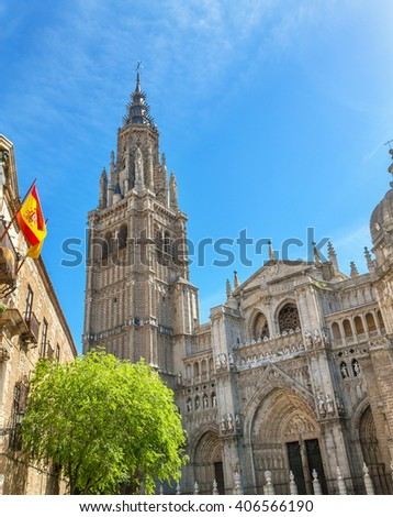 Cathedral Spanish Flag Toledo Spain.  Cathedral started in 1226 finished 1493 - stock photo