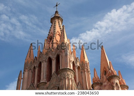 cathedral tower architectural detail in Mexico - stock photo