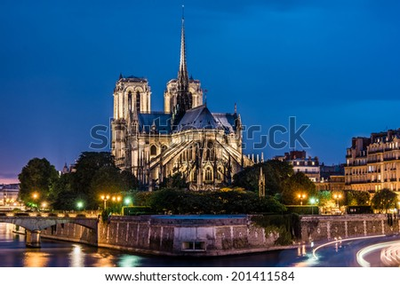 """Cathedrale Notre-Dame de Paris, """"Our Lady of Paris"""" is a beautiful cathedral on the Ile de la Cite in Paris.; is an important example of French Gothic architecture, sculpture and stained glass. - stock photo"""