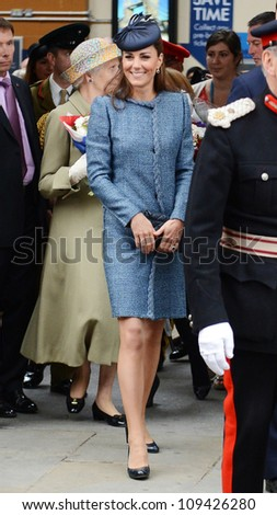 Catherine Duchess of Cambridge  arrives in Nottingham during the Royal Jubilee Tour. Nottingham, UK. June 13, 2012, Nottingham, UK Picture: Catchlight Media / Featureflash - stock photo