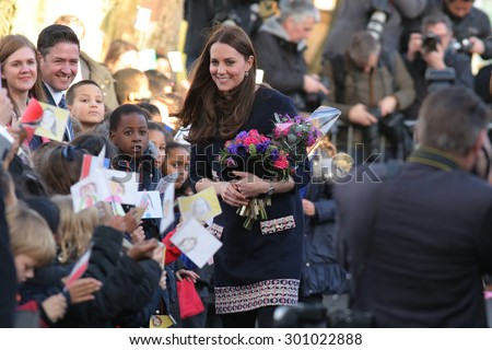 Catherine, Duchess of Cambridge (Royal Patron of The Art Room) departs after officially naming the Clore Art Room at Barlby Primary School on January 15, 2015 in London, England. - stock photo