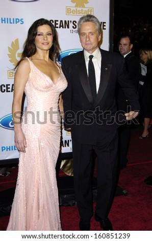 Catherine Zeta Jones And Her Husband Michael Douglas At The Premiere Of OCEANS TWELVE In