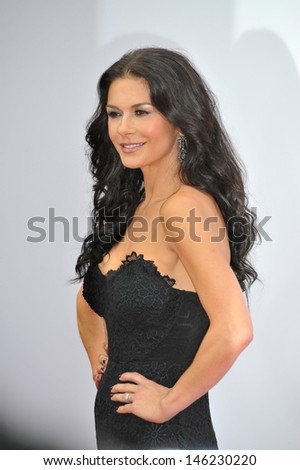 """Catherine Zeta-Jones at the Los Angeles premiere of her new movie """"Red 2"""" at the Westwood Village Theatre. July 11, 2013  Los Angeles, CA - stock photo"""