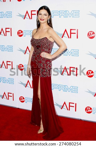 Catherine Zeta-Jones at the 37th AFI Lifetime Achievement Award: A Tribute to Michael Douglas held at the Sony Pictures Studios in Culver City on June 11, 2009.  - stock photo