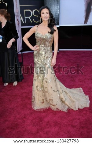 Catherine Zeta-Jones at the 85th Annual Academy Awards Arrivals, Dolby Theater, Hollywood, CA 02-24-13 - stock photo