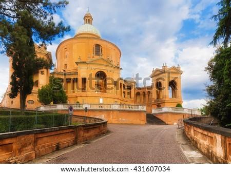 Catholic cathedral San Luca on a hill near bologna, Italy - stock photo
