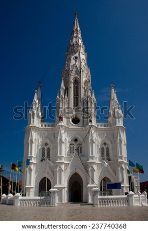 Catholic Church (Church of Our Lady Ransom) in Kanyakumari,Tamil Nadu, India  - stock photo