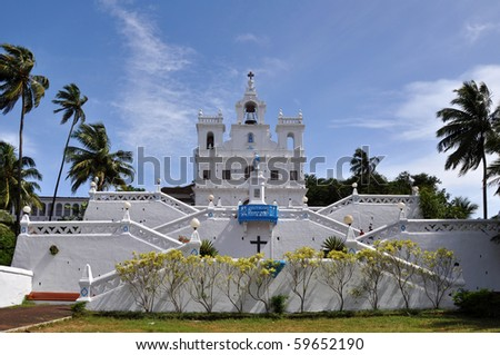Catholic church in Goa, India. Picture taken during the sunny day.