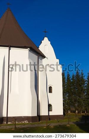 Catholic Church in Ishkold (Iszkoldz), Belarus. Built in 1472 in Gothic style. - stock photo