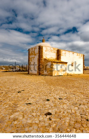 Catholic Church in the Portuguese Fortress Sagres on the Deserted Beach of the Atlantic Ocean