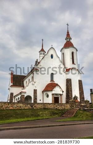 Catholic Church in village Soly, Grodno region, Belarus. - stock photo