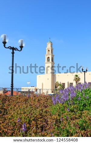 Catholic Church of St. Peter on the highest point of Old Yaffo city (Tel-Aviv. Israel)
