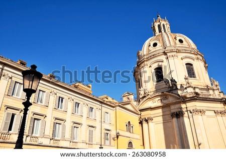 Catholic Church Ss. Name of Mary foro traiano, Rome, Italy. - stock photo