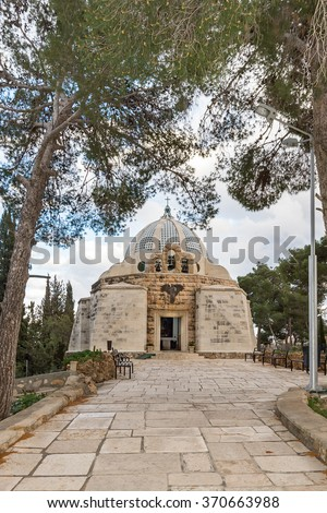 Catholic Franciscan Chapel, Shepherd's Fields, Beit Sahour, Israel. The church commemorates angels announcing the birth of Jesus to shepherds in the fields of Bethlehem. Architect: Antonio Barluzzi - stock photo