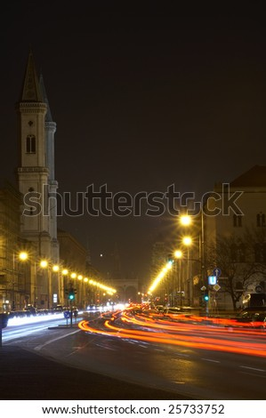 Catholic Parish and University Church St. Louis, called Ludwigskirche in Munich, Bayern, Germany, night scene - stock photo