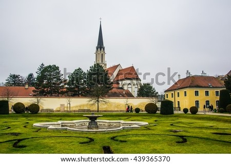 Catholic parish church Maria Hietzing near Schonbrunn palace. At the first Turkish siege of Vienna in 1529, the church was destroyed. - stock photo