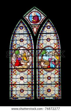 Catholic stained glass at Holy Rosary Church, Bangkok, Thailand