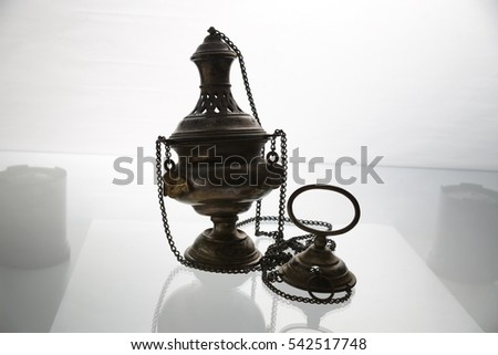 Catholic thurible (chain censer or incense burner) with a boat