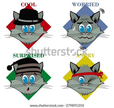 Cats in different mood illustration