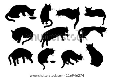 Cats Silhouette set - stock photo