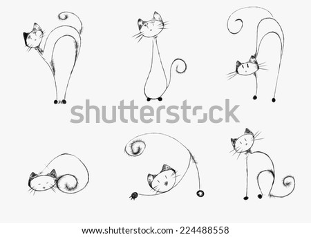 cats silhouettes - stock photo