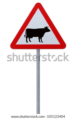 Cattle crossing sign isolated on white background