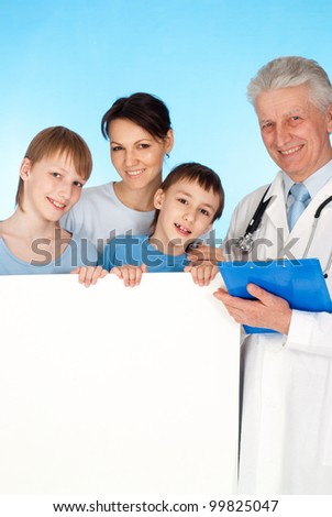 Caucasian aged doctor with a patient on a blue background