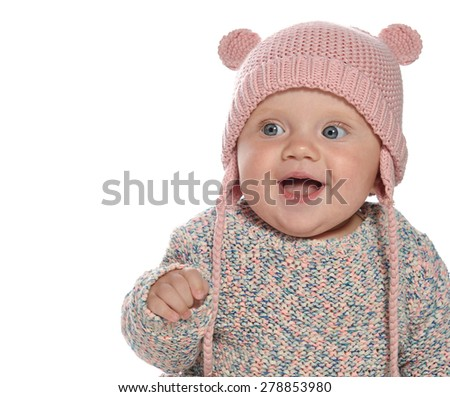 caucasian baby girl in hat smiling portrait isolated on white