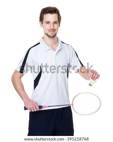Caucasian badminton player - stock photo