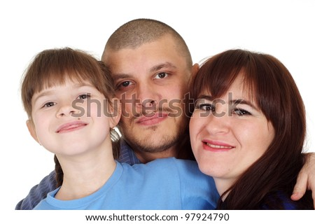 Caucasian beautiful happy family consisting of three people on a white background