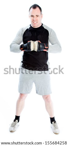 Caucasian boxer 40 years old isolated on a white background - stock photo