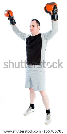 Caucasian boxer 40 years old isolated on a white background