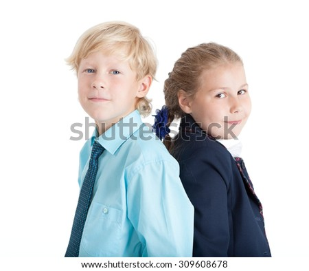 Caucasian boy and girl together portrait, blond kids, isolated on white background - stock photo