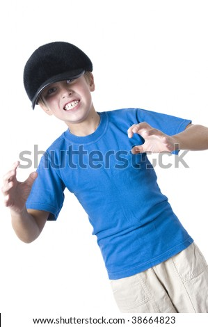 Caucasian boy portrait, expressing madness, confrontation and despise - stock photo