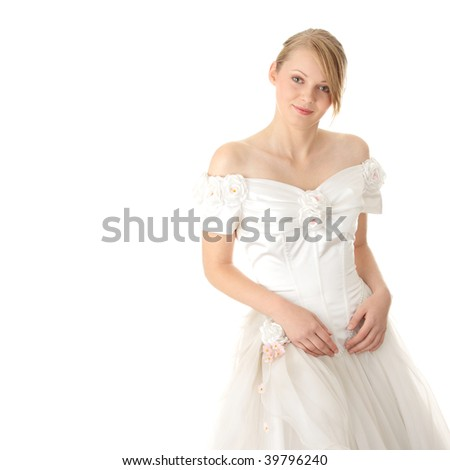 Caucasian bride isolated on white background - stock photo