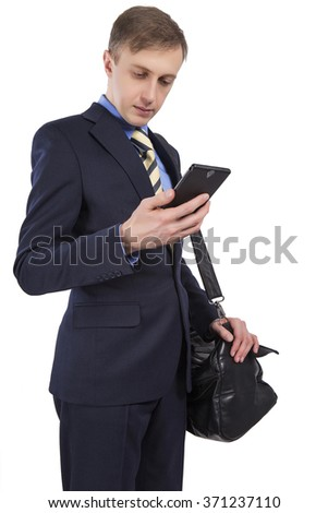 Caucasian business man is looking at smart phone. It should shoulder bag. Isolated on white background. - stock photo