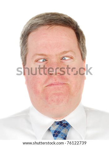 Caucasian business man making a funny face isolated on the white background.