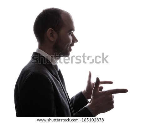 Caucasian business man silhouette - stock photo